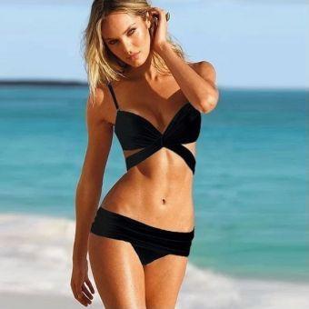 Pixnor Ropa de mujer atractivo de las señoras de dos piezas acolchado Brasier de baño bikini traje de baño traje de baño -Tamaño S (Negro)
