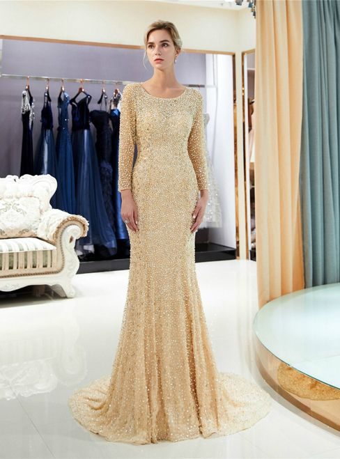 baba5458465d1 Champagne Tulle Sequins Mermaid Backless Long Sleeve Prom Dress in ...
