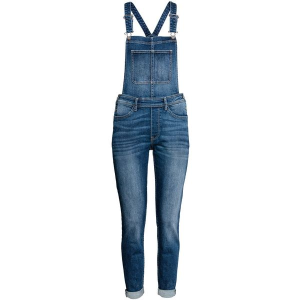 Denim Bib Overalls $39.99 ($40) ❤ liked on Polyvore featuring jumpsuits, blue denim overalls, overalls jumpsuit, denim overalls, slim leg jumpsuit and denim bib overalls