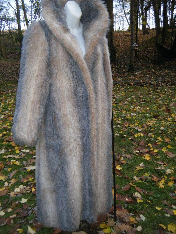 SALE  VintaGE 70s JORDACHE full length grey ivory tan FAUX fur ladies winter coat plus size