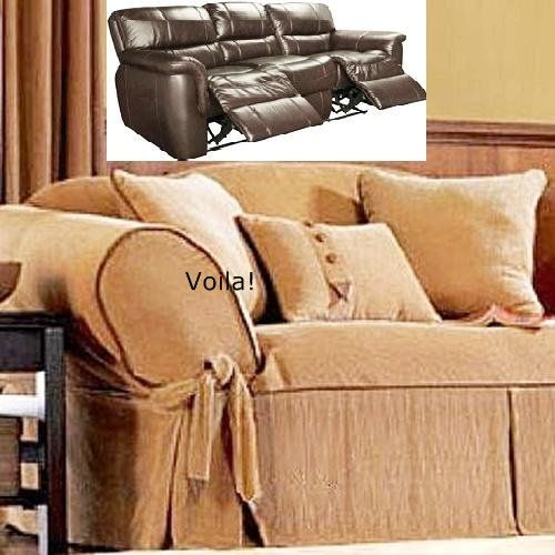 Reclining Sofa Slipcover Corduroy Camel Leather Trim Adapted For Dual Recliner Couch