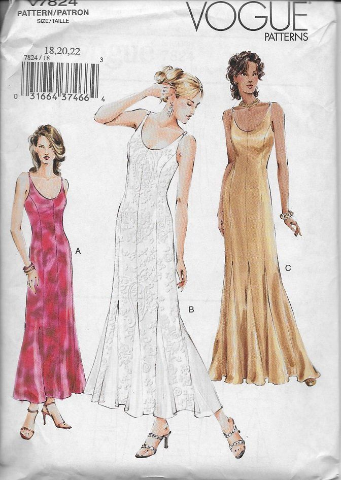 0e54fa357 Vogue 7824 Misses/Misses Petite Dress Pattern, Evening Dress With Princess  Seams And Godets, Size 18-20-22, UNCUT by DawnsDesignBoutique on Etsy
