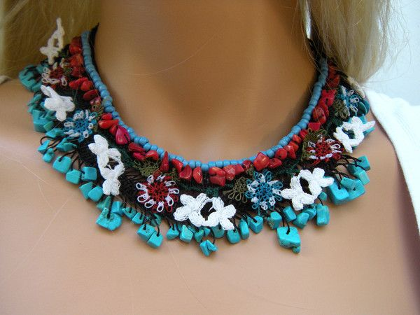 Anatolia.. One of a kind..Textile Art..Hand crocheted Necklace. Coral and Turquoise nuggets.