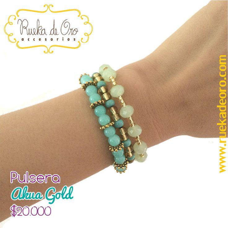 Pulsera Akua Gold | Rueka de Oro accesorios www.ruekadeoro.com #accesorios #aretes #collares #pulseras #bolsos #cuellos #relojes #fashion #colombia #bogota