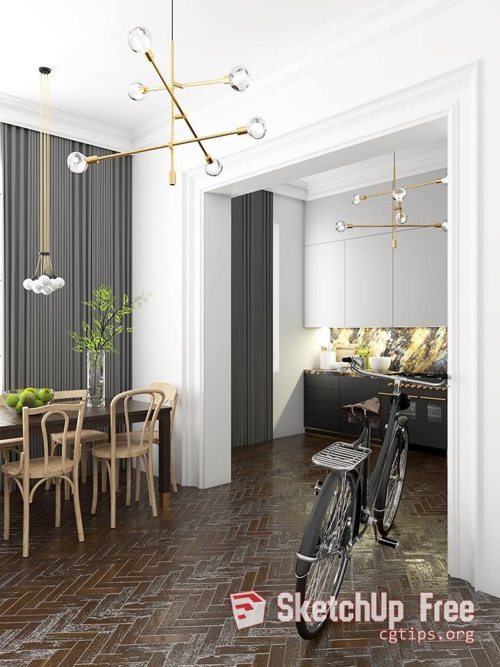 870 Interior Kitchenroom Sketchup Model By Tomas Obert Free