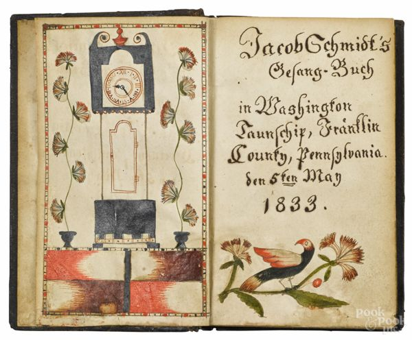 "Realized Price: $3600 Franklin County, Pennsylvania ink and watercolor fraktur bookplate for Jacob Schmidt, dated 1833, housed in an 1830 Germantown text, open - 5 1/2"" x 7 1/4"". Provenance: Kate and Joel Kopp, America Hurrah."
