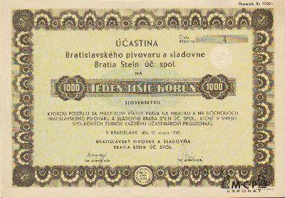 A2067 Muzeum cennych papiru / Bratislavský pivovar a sladovňa Bratia Stein úč. spol./ akcie na majitele ) Inhaberaktie) 1000 Ks Bratislava 10.3.1942 / AZP4CZ048