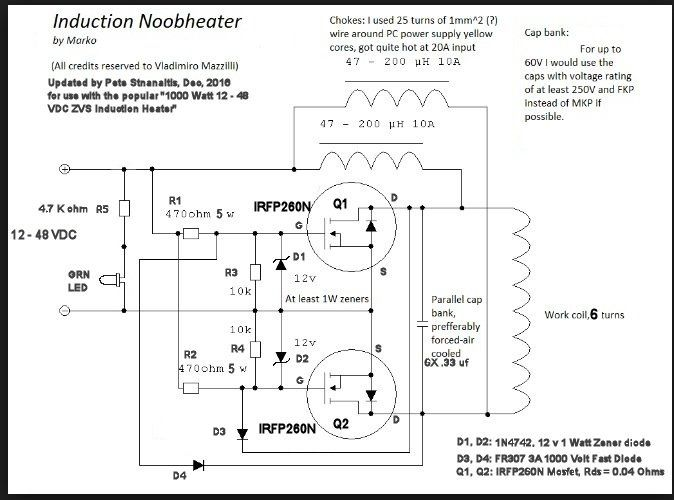 1000 Watt 12 To 48 Volt Zvs Induction Heater Troubleshooting Guide Induction Heating Electronic Schematics Induction