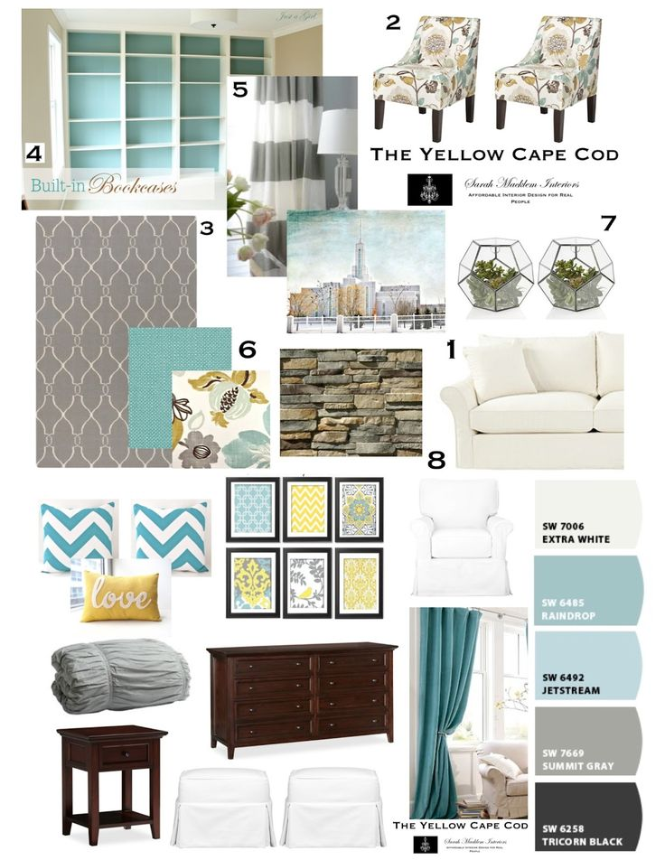Update to our bedroom the yellow cape cod design plan for Turquoise color scheme living room