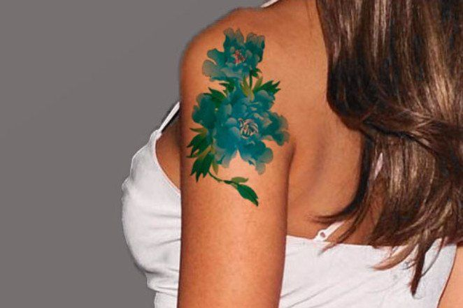 Temporary Tattoo Watercolor, Floral Tattoo, Blue Flower, Traditional – MyBodiArt