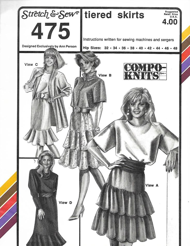 Stretch & Sew 475 Ladies Tiered Skirts Sewing Pattern, Hip 32-48, Waist 22-38, UNCUT by DawnsDesignBoutique on Etsy