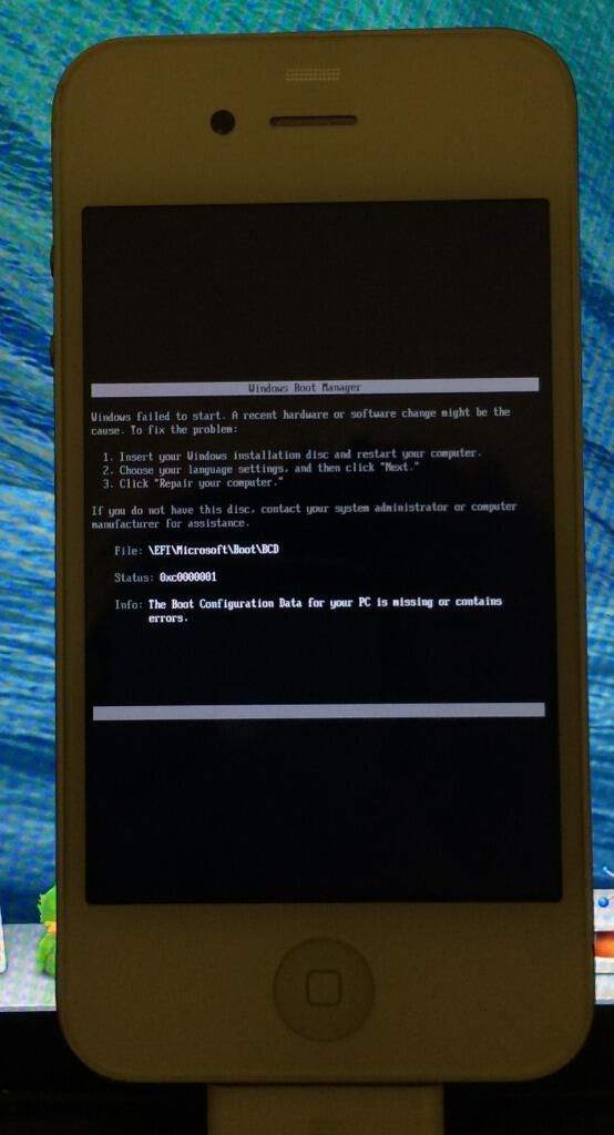 Windows fails to boot on iPhone 4.