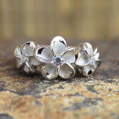 Hawaiian Sterling Silver Three Plumeria Flowers CZ Wedding Ring Band 10mm SR2078