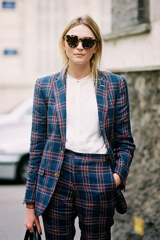 Fantastic plaid suiting on @Who What Wear - Plaid Pant Suit Inspiration Straight From The Streets