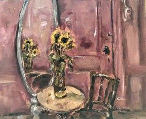 Stilleven interieur, Still life interior, oil painting on canvas, 30 x 24 cm, 'Zonnebloemen in zelfgemaakte vaas'
