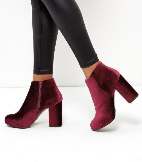 Dark Red Velvet Block Heel Ankle Boots | New Look