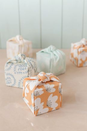 Knotted Fabric-Wrapped Favor Boxes | A beautifully styled DIY for Julep featuring my Spring Beauties and Print Block fabrics for Minted.