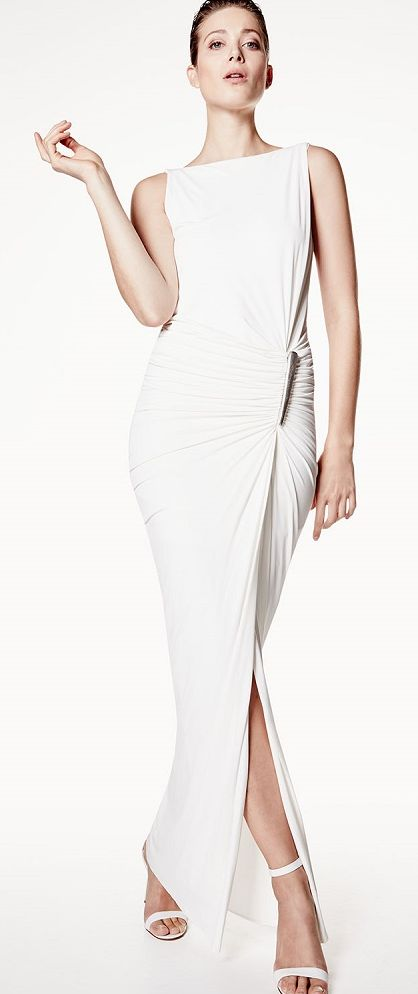 donna karan 2016 white maxi dress  women fashion outfit clothing style apparel @roressclothes closet ideas