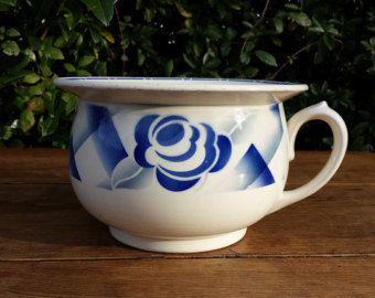 Vase de nuit, Digoin Sarreguemines, motif floral bleu. French vintage. Shabby chic
