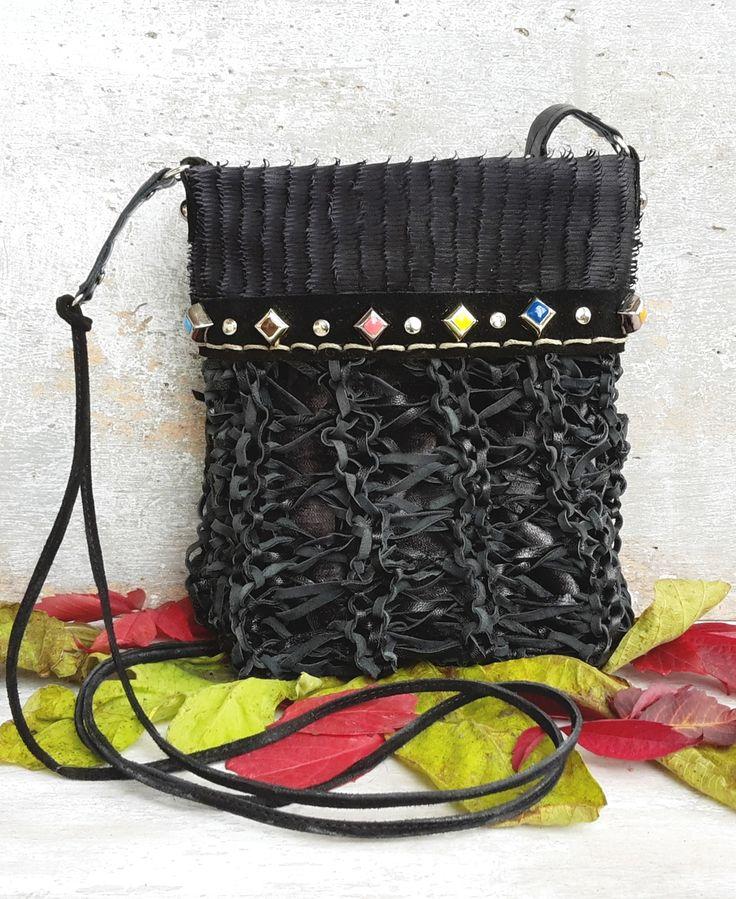 Small black purse, black leather shoulder bag, knitted leather purse, studded leather crossbody, cell phone pouch, black boho bag