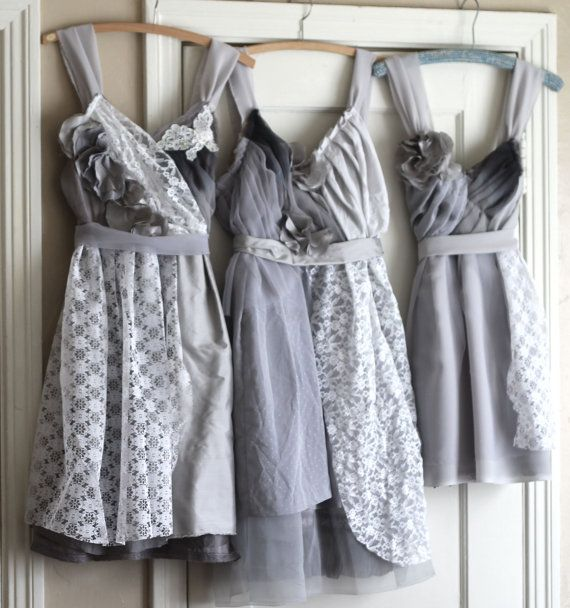 Custom Grey Bridesmaids Dresses by ArmoursansAnguish on Etsy