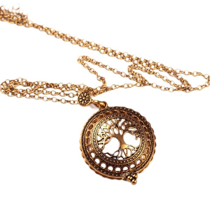 Vintage Magnifying Glass Pendant Necklace Life Tree Pocket Watch Time collar collier