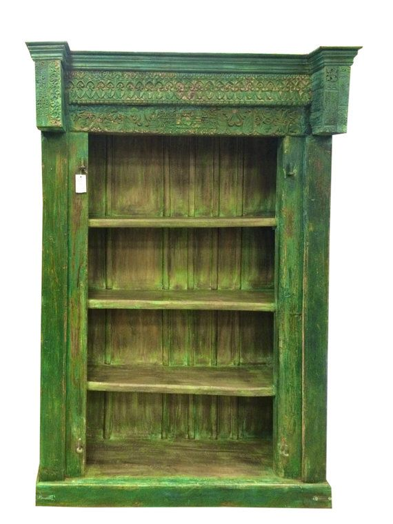Vintage Indian 4 Shelf Bookcase Antiqie Solid Wood By