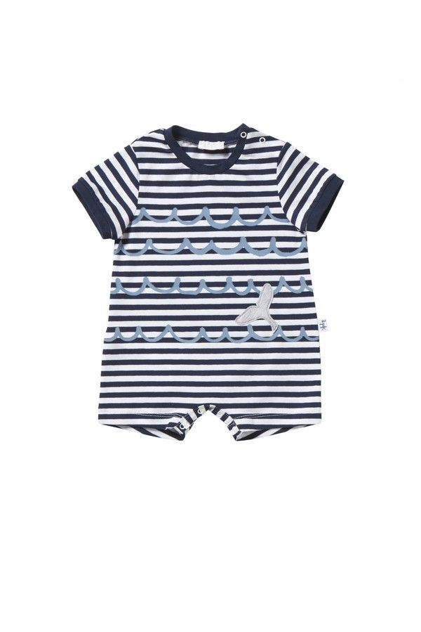 Italian Luxury BLUE AND WHITE STRIPED SHORT JERSEY PLAYSUIT   Il Gufo