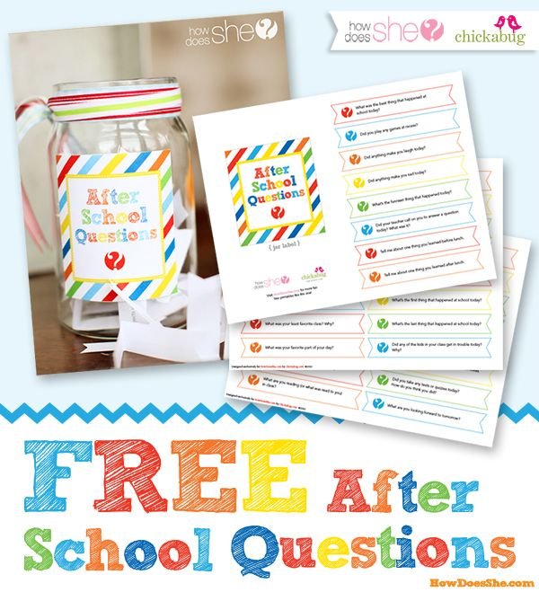 AFTER school questions for creative conversations! Exclusive FREE printable! Get those kiddos talking to you about the important stuff! :)