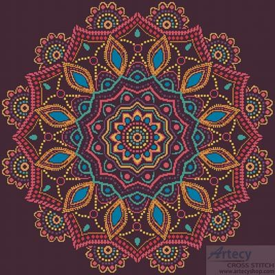 Artecy Cross Stitch. Ornamental Mandala Cross Stitch Pattern to print online.