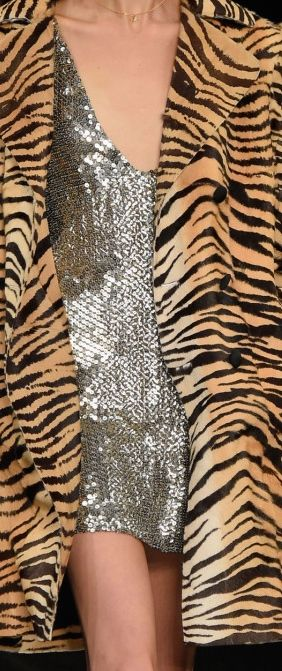 Saint Laurent . This animal print and glitter dress together looks like it belongs at Sears on the Kardashian rack. Enjoy RushWorld boards, RUNWAY CATWALK STAGING, WTF FASHIONS and WELCOME TO HELL HERE ARE YOUR SHOES. See you at RushWorld!