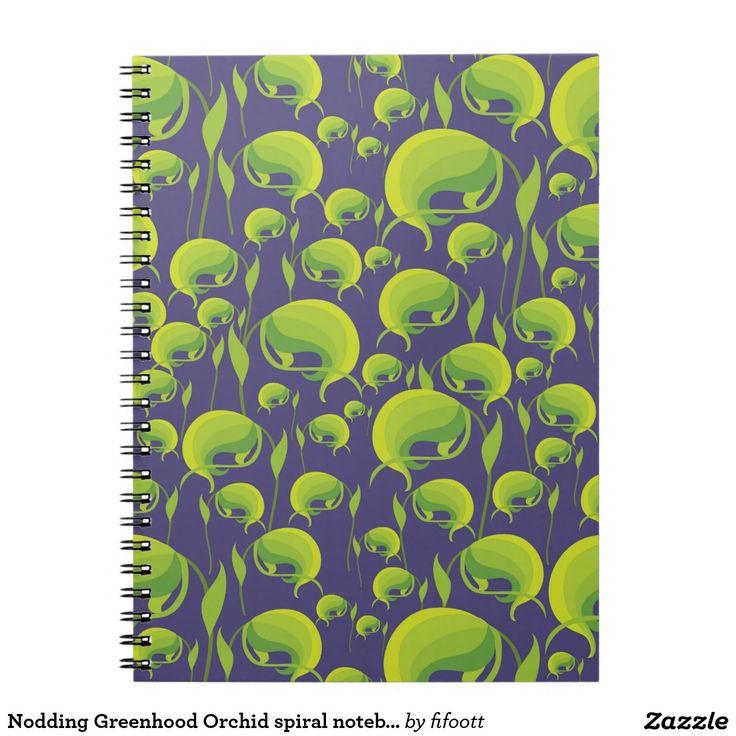 Nodding Greenhood Orchid spiral notebook