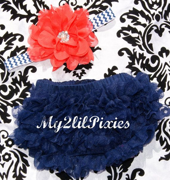Great Deal- Chiffon Ruffle Bum Baby Bloomer and Headband Set Navy Blue and Coral- Choose your Size - Photo Prop- MY2Lilpixies on Etsy, $15.95