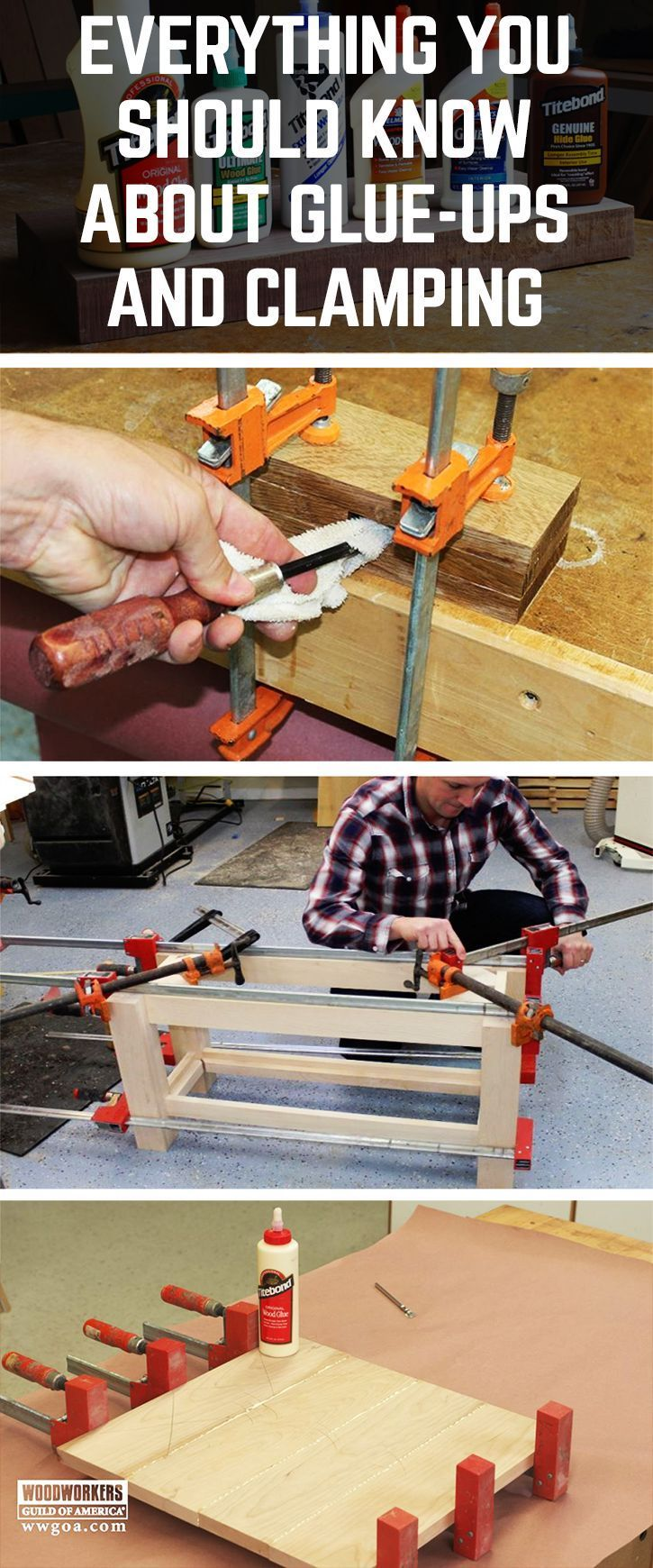 learn how to glue wood together and use clamps | woodworking