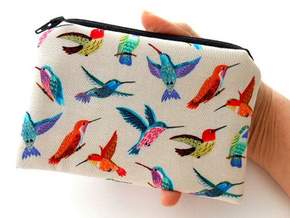 Hummingbirds Zipper Pouch Little Coin Purse ECO Friendly Padded NEW Hummers Delight by JPATPURSES, $8.00
