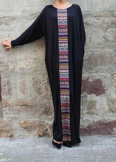 Black caftan, Maxi dress, Plus size dress, kaftan, Abaya, Oversized dress, Aztec Dress, Woman dress, Casual dress, Long Dress