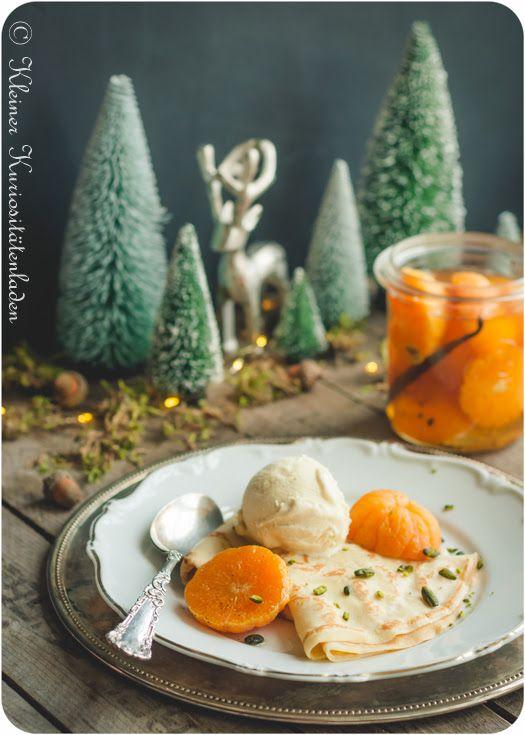 Beschwipste Mandarinen mit Crêpes und Vanilleeis