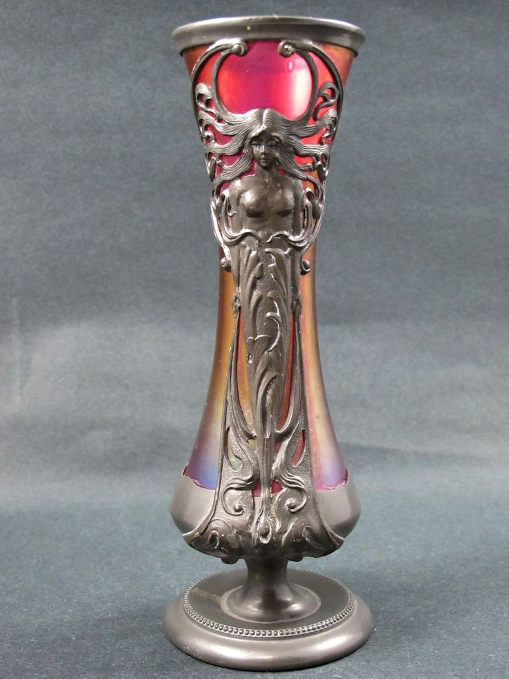 Rare Circa 1890 Loetz Cranberry Art Glass Vase In Figural Metal Armature...