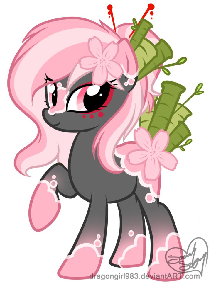 Edit: Removed green from her mane, and changed the hair pattern. Lightened the cherry blossoms, and changed the coat colours entirely. !!NEW CHALLENGER APPROACHING!! I paid for the rights to make m...