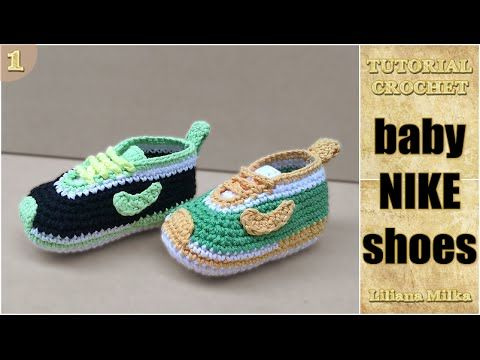 How to Crochet baby booties style Nike shoes, sneakers (1/2) -