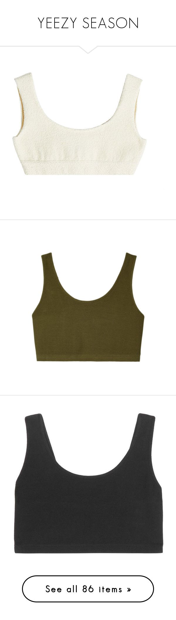 """""""YEEZY SEASON"""" by freakystyley ❤ liked on Polyvore featuring crop top, tops, beige, shirts, activewear, sports bras, cotton sports bra, cotton activewear, adidas originals and green"""