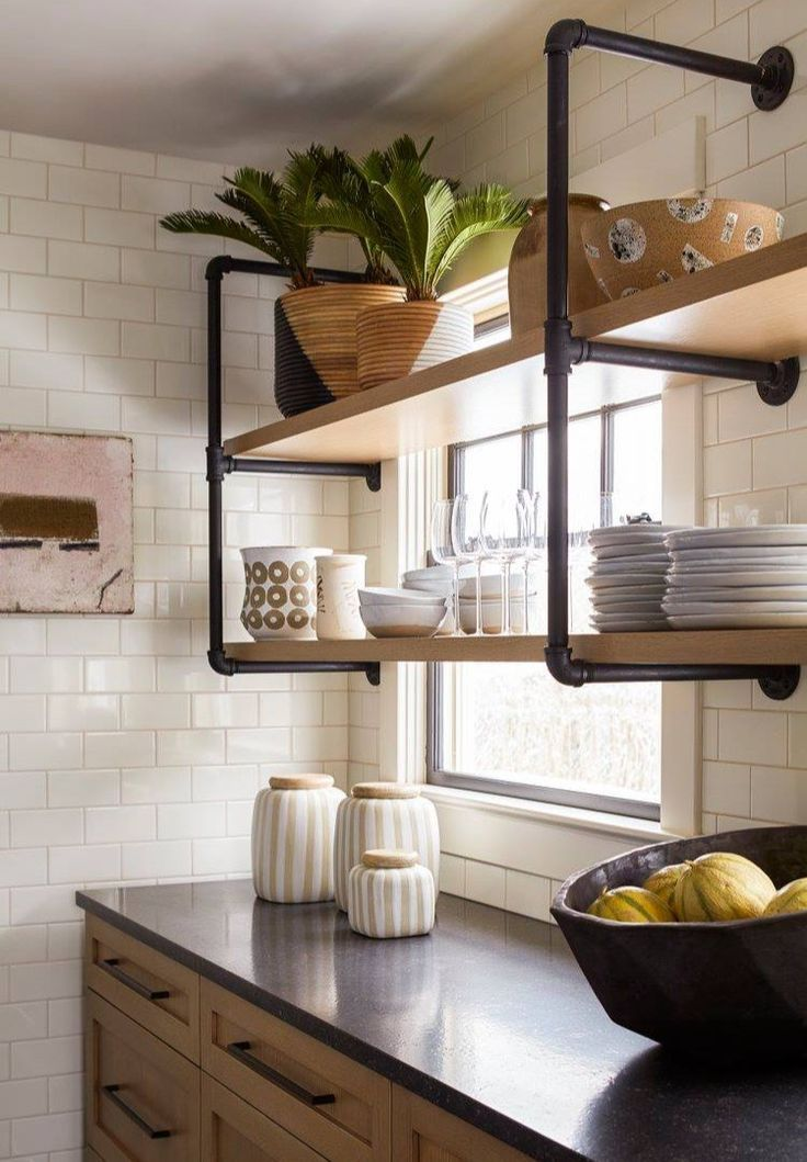 Industrial Wood Kitchen Shelves