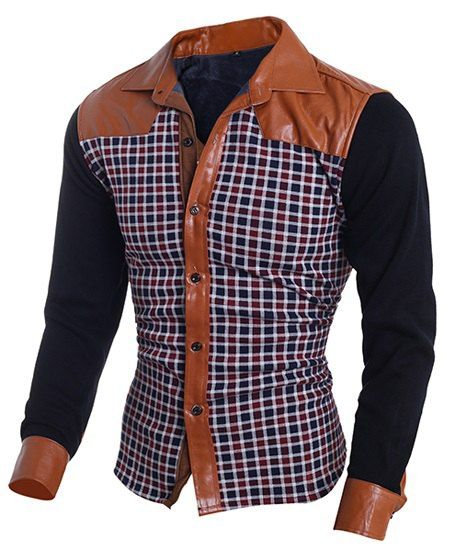 Color Block PU Leather Spliced Plaid Print Shirt Collar Long Sleeves Slim Fit Flocky Shirt For Men