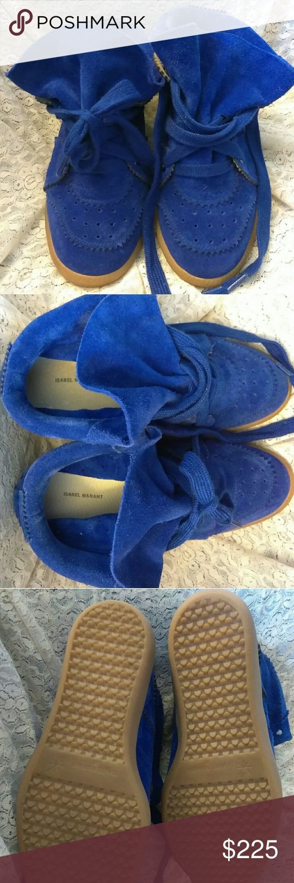 Isabel Marant Bobby hidden wedge sneakers EUC Beautiful cobalt color suede IM sneakers. Only wore a couple times EUC. Compared to what I paid for these I do not wear them enough. They need more love!   They are a 38 but I wear a 7.5 in sneakers. Sizing is a bit different as listed in Euro sizes on here. Isabel Marant Shoes Sneakers