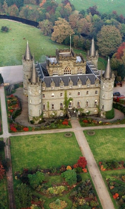 "Inveraray Castle and Garden Scotland. ""Look at the turrets...a poetic castle..."",. Argyll and Bute, Scotland"