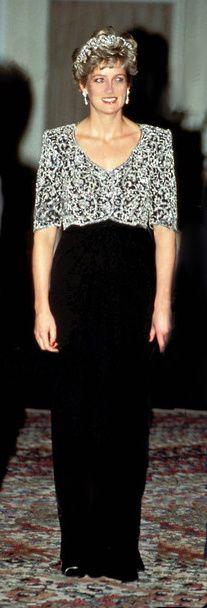 Black silk -crepe evening dress. Empire -style bodice embroidered with diamanté paste.  Designer   Catherine Walker