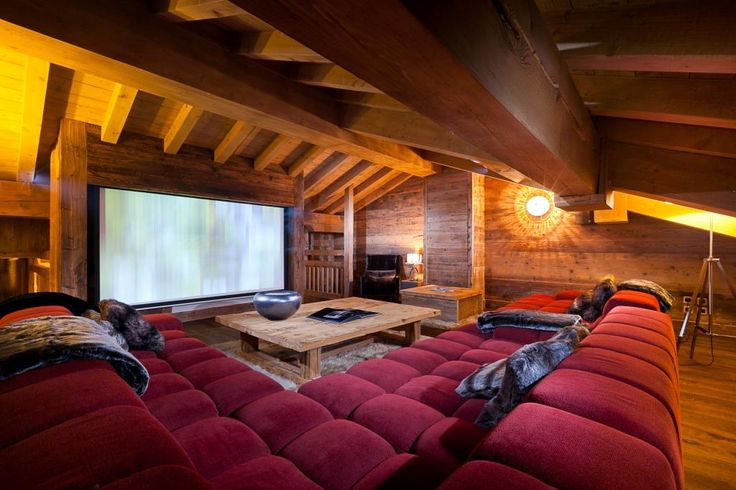 Attic Media Room - would love to finish the attic and do something like this