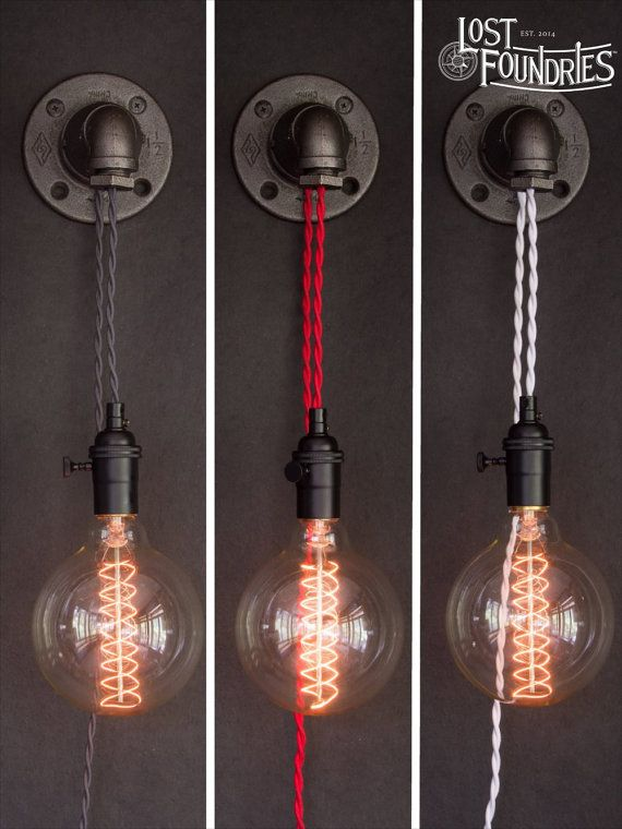 Latimer is an industrial pipe sconce that is wall mountable and can be plugged in anywhere. Featuring 8 of cloth cord, Latimer can be easily