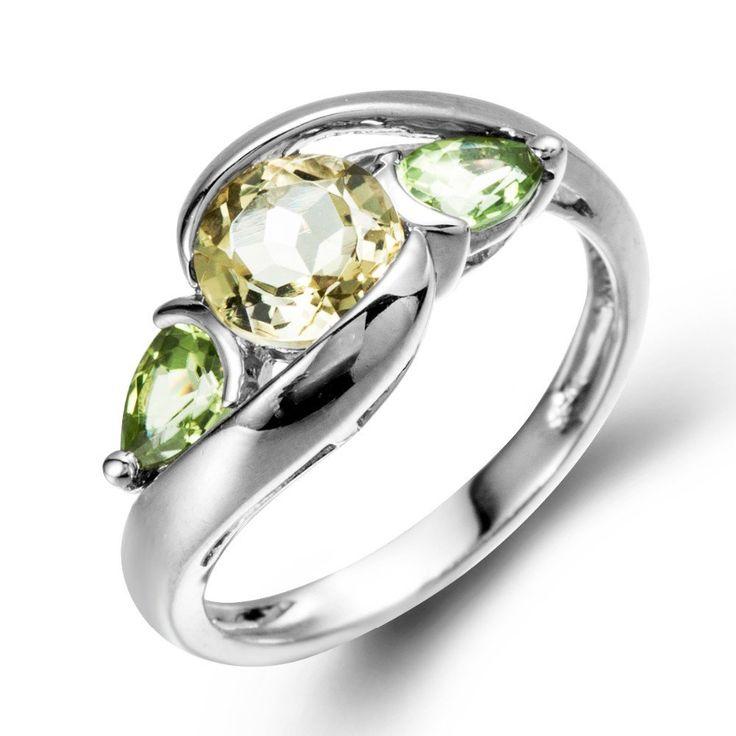 Natural Lemon Quartz & Peridot Stone  Solid 925 Sterling Silver Ring