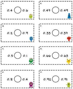 comparing and ordering decimals pdf